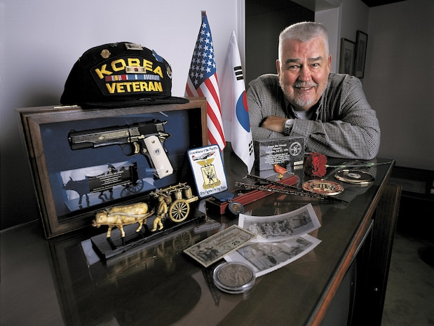 "Jim Byers and his memorabilia from Korea.  He didn't fly a sleek F-86 Sabre jet into ""MiG Alley"" to shoot down enemy planes. In 1952, he was a draftsman, in the Korean War. One of more than 5.7 million ""average Joes"" who served there. 