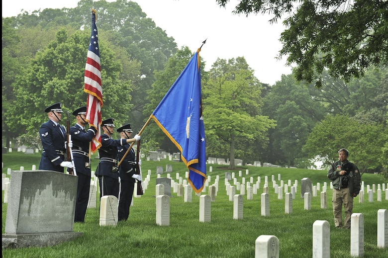 The 70th Intelligence, Surveillance and Reconnaissance Wing honor guard presents the colors during a memorial ceremony for the 6994th Security Squadron as retired Staff Sgt. Richard Yeh renders his salute during a Baron 52 wreath-laying ceremony May 11, 2016 at Arlington, Va. The ceremony has been held since 1995 to honor the fallen Airmen of the 6994th SS during the Vietnam War. (U.S. Air Force photo/Staff Sgt. Alexandre Montes)