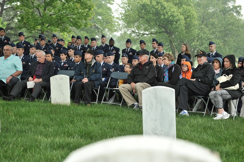 Airmen from the 94th Intelligence Squadron, veterans of the 6994th Security Squadron, 361st Tactical Electronic Warfare Squadron and guest listen to a speech during a Baron 52 wreath-laying ceremony May 11, 2016 at Arlington, Va. As one of the most highly decorated Major Command-created squadrons in our Air Force, 6994th SS veterans carry on the heritage of earning two Presidential Unit Citations and five Air Force Outstanding Unit awards. (U.S. Air Force photo/Staff Sgt. Alexandre Montes)