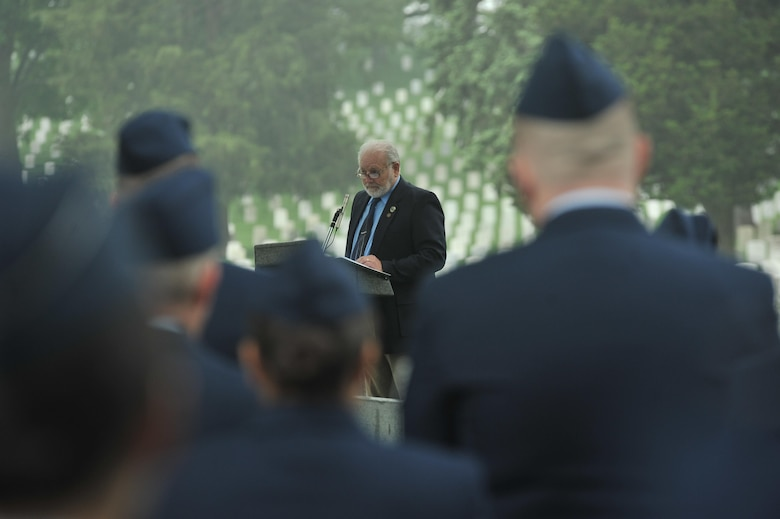 "Retired Chief Master Sgt. Tom Nurre gives a speech about his memories with the 6994th Security Squadron during the Vietnam War at a Baron 52 wreath-laying ceremony May 11, 2016 at Arlington, Va. The 6994th SS 'Back-enders' went by a motto of ""Unarmed, Alone and Unafraid"", as they flew on an EC-47 unarmed World War II aircraft during the Vietnam War. Their intelligence collecting missions were key to identifying advisories with the use of Airborne Radio Direction Finding (ARDF) equipment in the back of an EC-47. (U.S. Air Force photo/Staff Sgt. Alexandre Montes)"