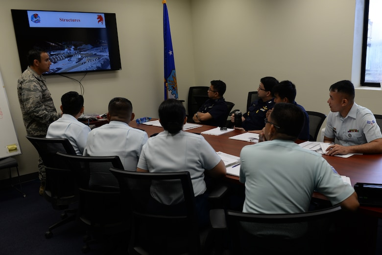 Capt. Naseem Ghandour, 554th RED HORSE Squadron civil engineer, facilitates a discussion with delegates of the Philippine Air Force and Royal Thai Air Force during the Pacific Unity multilateral tilt-up construction workshop May 10, 2016, at Andersen Air Force Base, Guam. Pacific Unity engagements facilitate the building of military partnerships, building capacity, and increasing interoperability among the U.S. Air Force and participating nations. Structures built with the tilt-up construction method are resistant to natural disasters such as typhoons, which are prevalent throughout the Indo-Asia-Pacific region. (U.S. Air Force photo by Airman 1st Class Jacob Skovo)