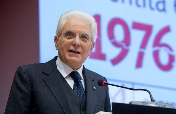 Sergio Mattarella, Italian Republic President, speaks during the 40th Anniversary memorial ceremony, in remembrance of the Friuli Earthquake May 6, 2016, Udine, Italy. The president honored the region with his presence and embraced the resilience of the communities throughout the regions affected in 1976. (Courtesy photo)
