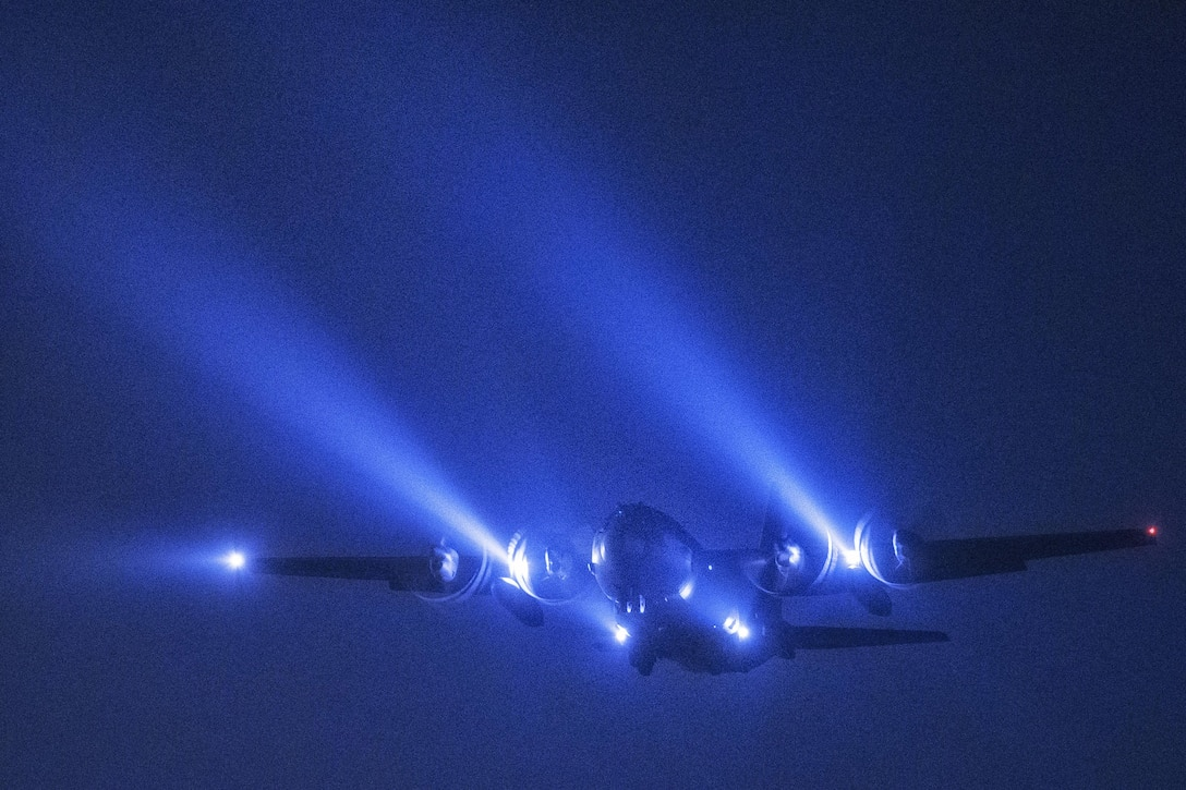 A C-130 Hercules from the 36th Airlift Squadron conducts a night flight mission over Yokota Air Base, Japan, May 11, 2016. The C-130 provides tactical airlift worldwide. Its flexible design allows it to operate in an austere environment. (U.S. Air Force photo/Yasuo Osakabe)