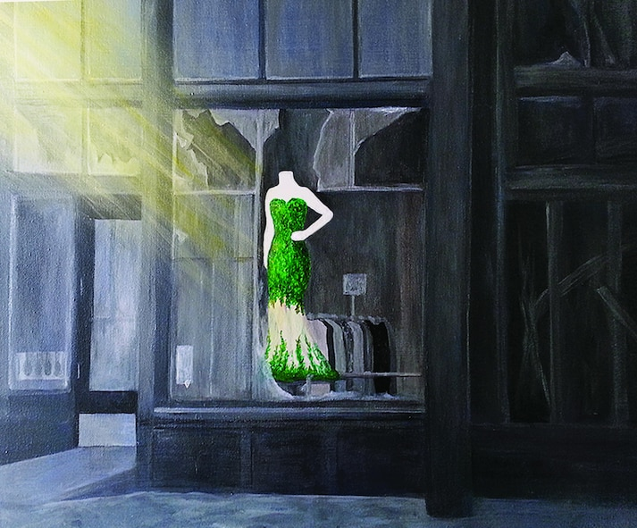 Lisa Gill's painting, one of 37 pieces of art selected by the Old Market Business Association, depicts a green dress sitting in a charred display window of the Mercer Building in downtown Omaha, Neb.  As Omaha firefighters fought to extinguish the flames threatening the century-old building, Lisa was struck by the solitary mannequin in the window amidst the chaos.  (Courtesy photo)