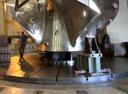 The new turbine runner was inverted for assembly and test-fitting prior to shipping to Ice Harbor Lock and Dam.