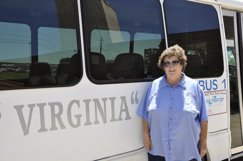 """Virginia Rhone, T Square Crew Shuttle Driver and considered a second mom to many of the undergraduate pilots attending ENJJPT, retires after 31 years with the 80th Flying Training Wing at Sheppard Air Force Base, Texas. A T-37 Crew Chief for 21 years, Virginia took on shuttling pilot crews for the last 10 years on the flight line. """"They are out here learning to protect us, we need to take care of them,"""" she said. """"I have loved and been proud to be a part of the ENJJPT family.""""  Crews will long remember her, as Crew Bus 1 now has her name."""