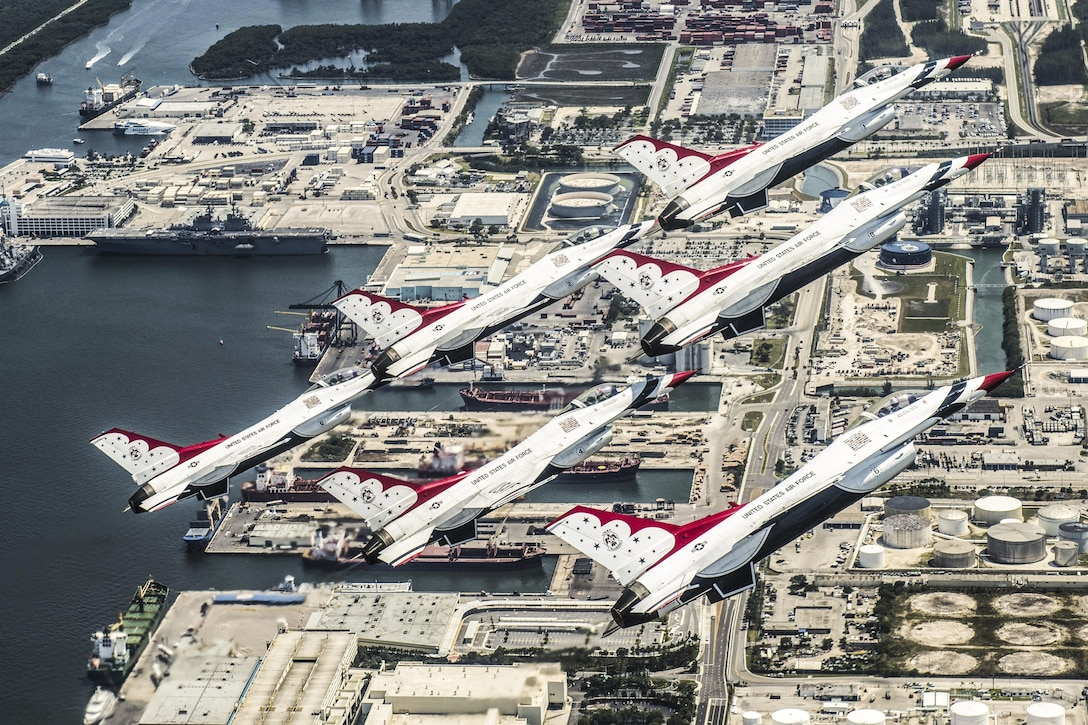 The Thunderbirds, the Air Force's demonstration squadron, practice a delta formation to prepare for the Fort Lauderdale Air Show in Fort Lauderdale, Fla., May 6, 2016. Air Force photo by Tech. Sgt. Christopher Boitz