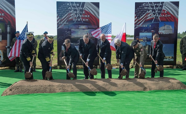 Deputy Secretary of Defense Bob Work breaks ground with Polish and U.S. leaders at the Aegis Ashore missile defense system groundbreaking ceremony in Redzikowo, Poland, May 13, 2016. DoD photo by Navy Petty Officer 1st Class Tim D. Godbee
