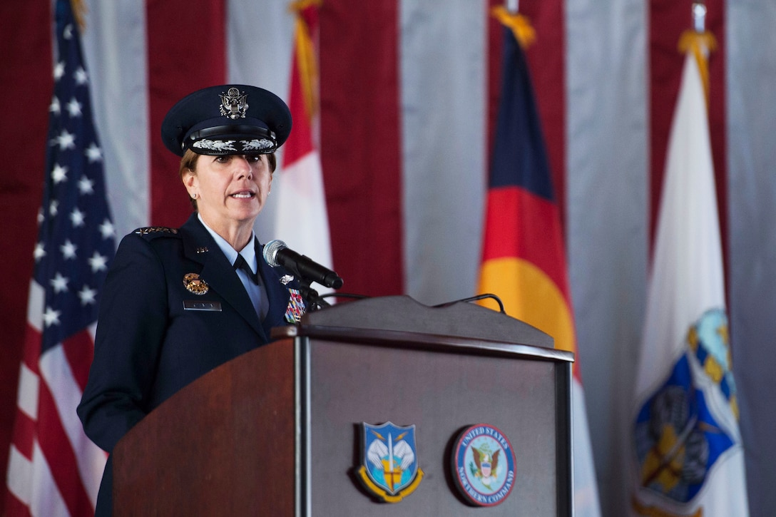 Air Force Gen. Lori J. Robinson delivers remarks