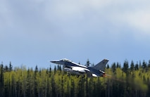 A U.S. Air Force F-16 Fighting Falcon assigned to the 80th Fighter Squadron out of Kunsan Air Base, Republic of Korea, takes off from Eielson Air Force Base, Alaska, May 4, 2016, during RED FLAG-Alaska (RF-A) 16-1. Wolf Pack pilots can sharpen their combat skills in the Joint Pacific Alaska Range Complex, which provides more than 67,000 square miles of airspace, one conventional bombing range and two tactical bombing ranges containing 510 different types of targets and 45 threat simulators, both manned and unmanned. (U.S. Air Force photo by Master Sgt. Karen J. Tomasik/Released)