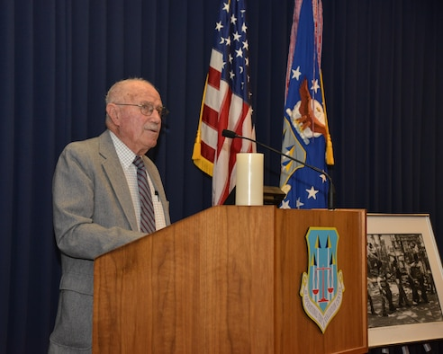 Roy Shaffer, a World War II veteran, spoke at the Holocaust Remembrance Ceremony May 4, sharing his experience of being posted at Flossenburg concentration camp as a 19-year-old soldier in 1945.