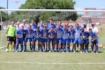 Fort Benning, Ga. - Air Force presents their gold medals after winning the championship match of the 2016 Armed Forces Men's Soccer Championship hosted at Fort Benning, Ga from 6-14 May 2016.  Air Force would win the Championship 3-2, with Navy taking silver.