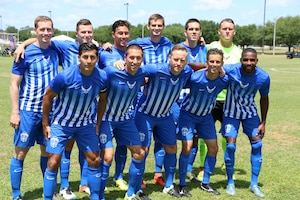 Fort Benning, Ga. - Air Force getting ready for the championship match of the 2016 Armed Forces Men's Soccer Championship hosted at Fort Benning, Ga from 6-14 May 2016.  Air Force would win the Championship 3-2, with Navy taking silver.