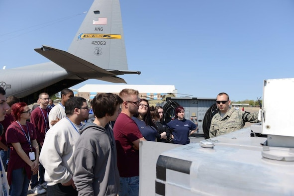 Master Sgt. Dennis Coughlin, aircraft ground equipment technician, explains the function and purpose of equipment to support flight mobility May 12, 2016, during a Career Day hosted at Bradley Air National Guard Base, East Granby, Conn. Students discussed military careers with Air National Guardsmen during their visit to the 103rd Airlift Wing. (U.S. Air Force photo by Master Sgt. Erin McNamara)