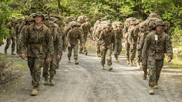 Marines with Marine Wing Support Squadron 171 participate in a hike during exercise Thunder Horse 16.2 at the Japan Ground Self-Defense Force's Haramura Maneuver Area in Hiroshima, Japan, May 12, 2016. The week-long exercise focused on reinforcing skills that Marines learned throughout their military occupational specialty schooling and during Marine Combat Training in order to maintain situational readiness. Motor transportation operators, bulk fuels specialists, and field radio operators trained in various areas including direct refueling, recovery and general engineering operations and established a tactical motor pool.