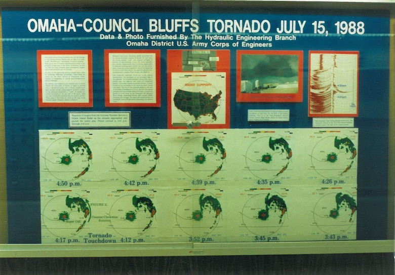 A special meteorological display detailing the July 1988 Omaha-Council Bluffs tornado was created by Mark Nelson and members of the Hydraulic Engineering Branch and placed in the lobby of the old Federal Building at 16th and Dodge Streets in Omaha.