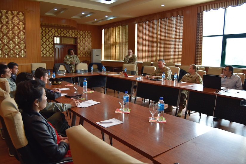 Maj. Neysa Williams, USARCENT public affairs officer, discusses community and media relations during a Media Relations Exchange April 20, in Dushanbe, Tajikistan.