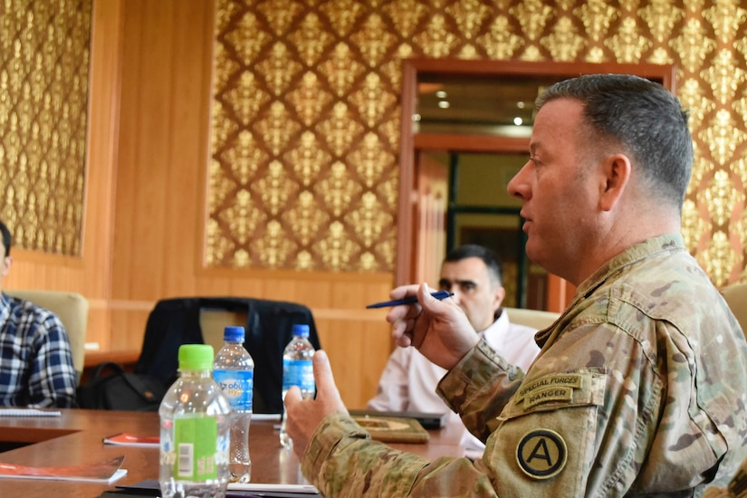 Col. Thomas Gilleran explains freedom of the press and its effect on Army Public Affairs during a Media Relations Exchange April 22, in Dushanbe, Tajikistan.