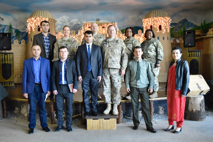 U.S. Army Central and Tajikistan public affairs personnel pose for a photo during a Media Relations Exchange April 22, in Dushanbe, Tajikistan.