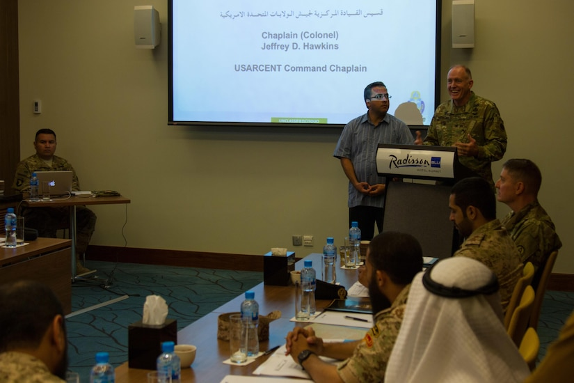 Col. Jeffrey D. Hawkins, the command chaplain with U.S Army Central, gives his opening remarks during a bilateral theater security cooperation seminar with members of the Kuwaiti military and council of ministers in Kuwait City, May, 2, 2016. The seminar was the start of discussions between the Kuwait military and USARCENT to partner and find ways to counter religious extremism. (U.S. Army photo by Sgt. Youtoy Martin, U.S. Army Central Public Affairs)