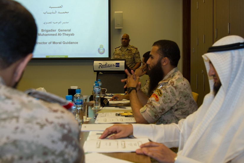 Kuwaiti Brig. Gen. Mohammed Al-Thayeb, director of moral guidance and public relations, gives his opening remarks during a bilateral theater security cooperation seminar with U.S. Army Central chaplains and council of ministers in Kuwait City, May, 2, 2016. The seminar was the start of discussions between the Kuwait military and USARCENT to partner and find ways to counter religious extremism. (U.S. Army photo by Sgt. Youtoy Martin, U.S. Army Central Public Affairs)