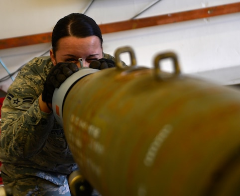 Airman 1st Class Karen, 432nd Maintenance Squadron munitions flight crew members, inspects a GBU-12 Paveway II laser-guided bomb during a build March 1, 2016, at Creech Air Force Base, Nevada. On August 31, 1949, Secretary of Defense Louis Johnson announced the creation of an Armed Forces Day to replace separate Army, Navy, Marine Corps and Air Force Days.  (U.S. Air Force photo by Senior Airman Christian Clausen/Released)