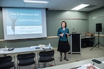"Elizabeth Kolmstetter, Ph. D., chief human capital officer, U.S. Agency for International Development, provides a leadership workshop at the 2016 Defense Federal Community Women's Leadership Summit March 23 at Defense Supply Center Columbus' Armed Forces Reserve Center (Building 2). Kolmstetter's workshop was titled ""How to Become an SES."""