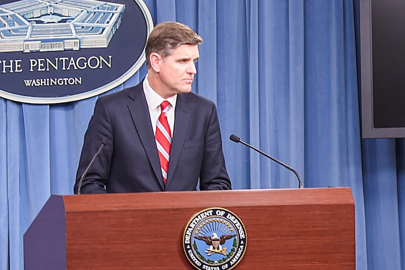 Pentagon Press Secretary Peter Cook briefs reporters on various topics during a news conference at the Pentagon, May 16, 2016. DoD photo by U.S. Army Sgt. 1st Class Clydell Kinchen