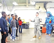 Soldiers from the 172nd Chemical Company, 541st Combat Sustainment Support Battalion, 1ID Sustainment Brigade, gave more than 80 high school students from the Chicago Public Schools Junior Reserve Officer Training Corps a tour of their vehicles and equipment on April 21.  Students had an opportunity to learn about some standard military equipment, like HEMTT wreckers, HMMWVs, and M16s, as well as about some capabilities unique to a chemical unit, like Nuclear Biological Chemical Reconnaissance Vehicles, the M26 Decontamination Apparatus, and the different levels of protection suits.