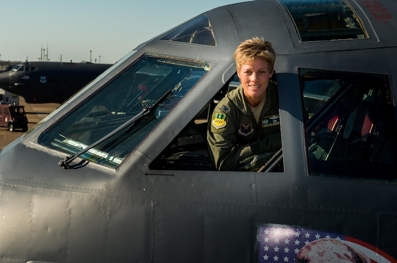 Col. Kristin E. Goodwin, 2nd Bomb Wing commander, peers from the cockpit of a B-52H Stratofortress on Barksdale Air Force Base, La., May 21. Goodwin is scheduled to relinquish command of the 2nd BW to Col. Ty Neuman at a change of command ceremony here, May 20. (U.S. Air Force photo/Senior Airman Mozer O. DaCunha)