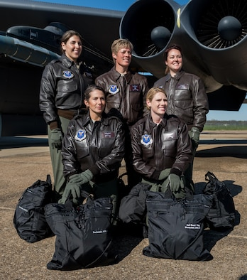 Col. Kristin E. Goodwin, 2nd Bomb Wing commander, poses with an all-female B-52 Stratofortress crew prior to their historic flight from Barksdale Air Force Base, La., March 21. Air Force Global Strike Command, which oversees all nuclear-capable forces in the U.S. Air Force, staffed the entire enterprise, both bomber crews and ICBM facilities, with female crew members for a full 24 hours, which had never before been done. (U.S. Air Force photo/Senior Airman Mozer O. DaCunha)