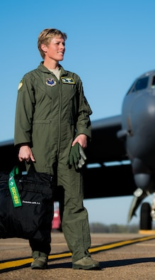 Col. Kristin E. Goodwin, 2nd Bomb Wing commander, prepares to board a B-52H Stratofortress at Barksdale Air Force Base, La., March 21. Goodwin, a command pilot with time in both the B-2 Spirit and B-52, will relinquish command of the 2nd BW to Col. Ty Neuman, May 20, prior to reporting to her new position as senior military advisor to Secretary of the Air Force Deborah Lee James. (U.S. Air Force photo/Senior Airman Mozer O. DaCunha)
