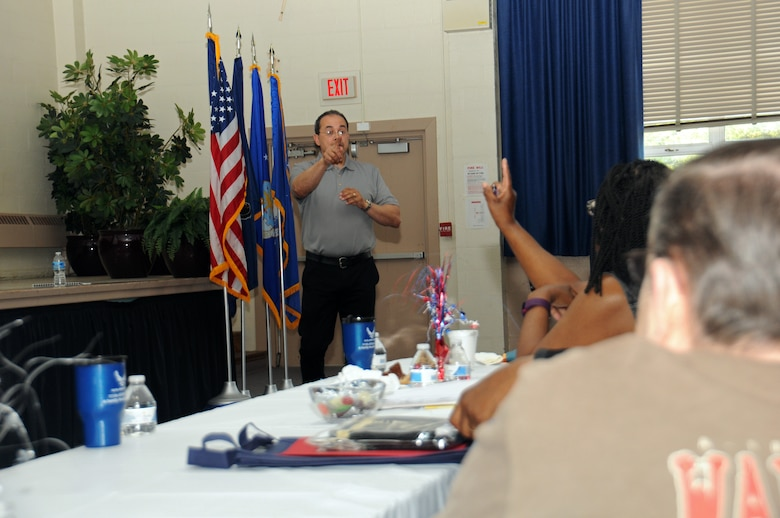 Keith M. Donnell, a certified personal accountant, fields a question from an attendee of the Retirees Appreciation Day hosted by the Retiree's Activities Office at Horsham Air Guard Station, Pennsylvania, May 14, 2016. The group gathered was able to not only receive pertinent information, but was also given the chance to ask questions in regard to military retirement and benefits. (U.S. Air National Guard photo by Staff Sgt. Michael Shaffer/Released)