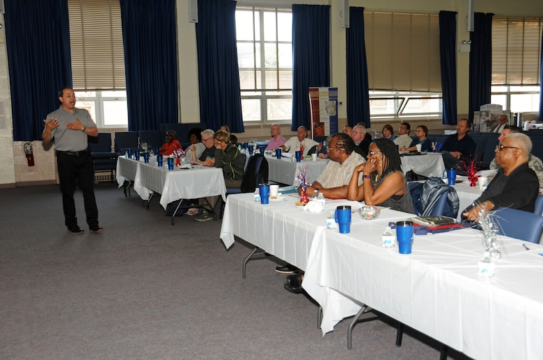 Keith M. Donnell, a certified personal accountant, briefs retired, recently retired and soon-to-be retired military personnel and spouses on the benefits available to them upon full retirement from military service during the Retirees Appreciation Day hosted by the Retiree's Activities Office at Horsham Air Guard Station, Pennsylvania, May 14, 2016. Donnell also discussed the Thrift Savings Plan and 401K's in detail and how to invest and financially plan for the future. (U.S. Air National Guard photo by Staff Sgt. Michael Shaffer)