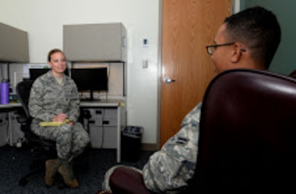 Capt. Chelsea Arnold, 36th Medical Group Mental Health licensed clinical social worker, counsels a simulated patient during a simulated scenario May 11, 2016, at Andersen Air Force Base, Guam. May is Mental Health Awareness Month and the Andersen Mental Health clinic urges Airmen to keep an eye out for their peers and seek help if they are struggling.