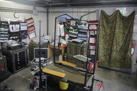 The operating table in the building of the Forward Resuscitative Surgical System-Shock Trauma Platoon on Naval Air Station Sigonella, Italy, May 2, 2016.  Some of the FRSS-STP capabilities include basic trauma resuscitation with supplementation of fluids and blood products, basic general surgeries to stop internal bleeding and stabilizing fractures to prevent further injuries to a patient.  (U.S. Marine Corps photo by Cpl. Alexander Mitchell/released)