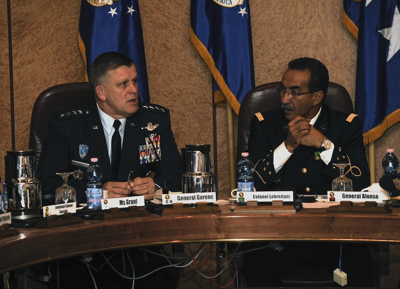 Gen. Frank Gorenc, U.S. Air Forces in Europe Air Forces Africa commander, and Col. Mohamed Lehreitani, Mauritanian Air Force Chief of Staff, introduce themselves during an African Air Chiefs Symposium May 9, 2016, at Ramstein Air Base, Germany. The leaders discussed many topics for future allied-partnerships and mutual support. (U.S. Air Force photo/Senior Airman Larissa Greatwood)