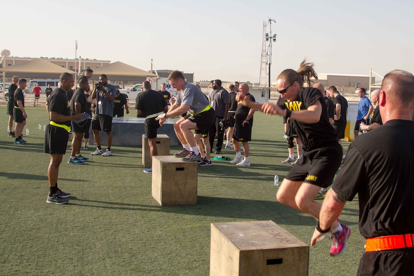 Senior leaders of U.S. Army Central gather for a functional fitness challenge hosted by Lt. Gen. Michael X. Garrett, the commanding general of USARCENT, and Command Sgt. Maj. Eric C. Dostie, the command sergeant major of USARCENT, at Camp As Sayliyah, Qatar, April 26, 2016. The ALDF aims to help shape future operations of USARCENT and allows the leaders to mentor their subordinates in reflection of Garrett's vision.