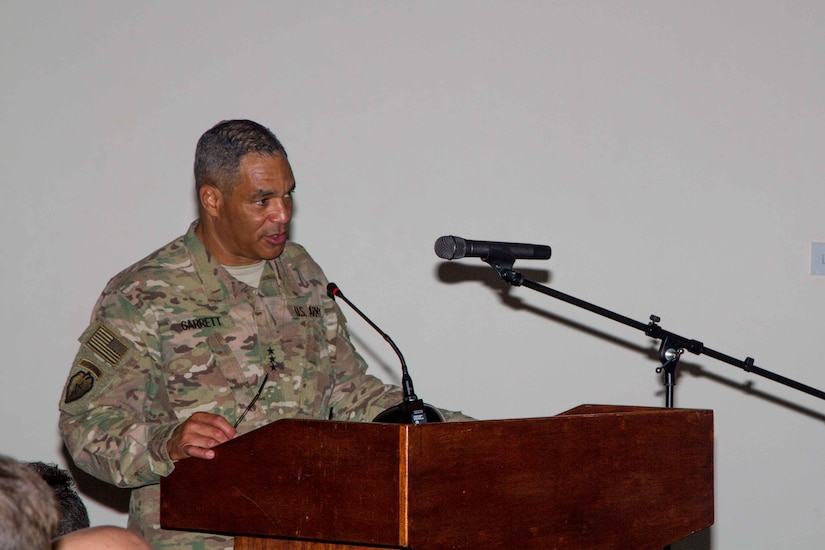 """Lt. Gen. Michael X. Garrett, the commanding general of U.S. Army Central, tells his subordinate leaders to take responsibility for developing the next generation of military leaders during USARCENT's Leader Development Forum on Camp As Sayliyah, Qatar, April 26. """"We all have a responsibility to mold the future leaders of our Army. It is our task to hold the Army up to the standards by showing the new Soldiers how to do it."""""""