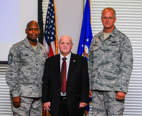 Dobbins Airmen gathered at Verhulst Hall, May 14, 2016, to listen to Hershel Greenblat speak about his Holocaust survival during World War II. (U.S. Air Force photo/Tech. Sgt. Kelly Goonan)