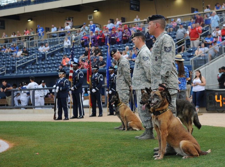 "The Keesler Honor Guard, 81st Security Forces Squadron military working dog handlers and their military working dogs participate in the Biloxi Shuckers Minor League Baseball team's pre-game ceremony at MGM Park May 9, 2016. The ""Bark in the Park"" themed baseball game invited fans to sit in the outfield seating area with their dogs. (U.S. Air Force photo by Kemberly Groue)"