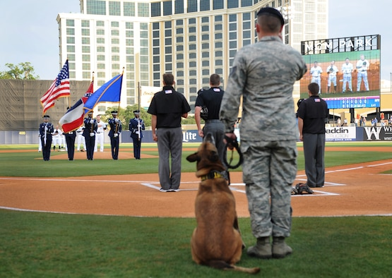 "Tech. Sgt. James Martin, 81st Security Forces kennel master, renders a salute with his military working dog, Densy, at the MGM Park during a Biloxi Shuckers Minor League Baseball team pre-game ceremony May 9, 2016. The ""Bark in the Park"" themed baseball game invited fans to sit in the outfield seating area with their dogs. (U.S. Air Force photo by Kemberly Groue)"