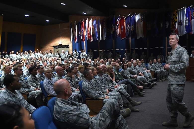 Lt. Gen. Darryl Roberson, commander, Air Education and Training Command, talks with 59th Medical Wing Airmen during an all call gathering May 11 at the Wilford Hall Ambulatory Surgical Center, Joint Base San Antonio-Lackland. The general talked about his focus areas and shared his leadership philosophy with the wing. (U.S. Air Force photo/Staff Sgt. Jason Huddleston)