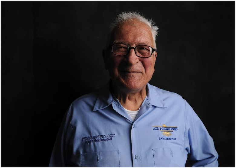 Senior Master Sergeant (Ret.) Peter Karpawitz-Godt was raised the son of a police officer in the midst of World War II in Germany. After WWII, Karpawitz-Godt moved to America so he could enroll in college. In March of 1956, at the age 27, he became an Airman in the U.S. Air Force. (U.S. Air Force photo by Senior Airman Hailey Haux)