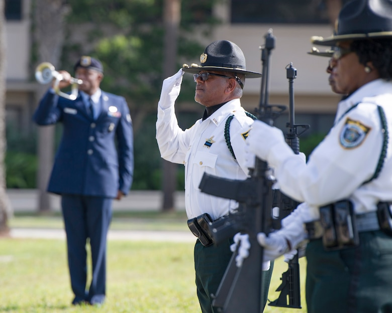 The 45th Security Forces Squadron honored all law enforcement and first responders who have made the ultimate sacrifice during the National Police Week Opening and Fallen Heroes Ceremony May 16, 2016, at Patrick Air Force Base, Fla. This year's National Police Week dates are held May 15-21, 2016. A SFS Open House is scheduled for May 18, which includes a Military Working Dog demonstration. Guests can also see the holding cells, dispatch center, mobile command post, weapons display, and patrol vehicle from 2-4 p.m. in building 1319. The open house is open to those with a valid DOD identification card. Additionally, a Wing Run is slated for May 20 at 7 a.m. at the WarFit Field. All members have the option to complete a 2-mile or 5K ruck march instead of 5K run. For more information, call (321) 494-6949/6270. (U.S. Air Force photos/Matthew Jurgens/Released)