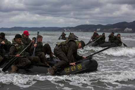 "U.S. Marines with 1st Battalion, 3rd Marine Regiment, also known as ""The Lava Dogs"", conduct inflatable boat training with the Republic of Korea (ROK) marines as a part of the Korea Marine Exchange Program (KMEP) in South Korea, April 04, 2016. KMEP is a program designed to increase interoperability and camaraderie between U.S. Marines and ROK marines. The alliance between the United States and the Republic of Korea has grown ever stronger based upon the shared interests and common values of both nations. (U.S. Marine Corps photos by MCIPAC Combat Camera Cpl. Erick Loarca/ Released)"