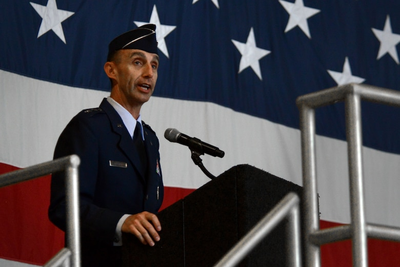 U.S. Air Force Maj. Gen. Scott Zobrist, new Ninth Air Force commander, addresses a group of Airmen, Soldiers, and community leaders during a change of command ceremony at Shaw Air Force Base, S.C., May 17, 2016. Maj. Gen. Mark Kelly relinquished command of the Ninth Air Force to Zobrist. (U.S. Air Force photo by Airman 1st Class Kelsey Tucker)