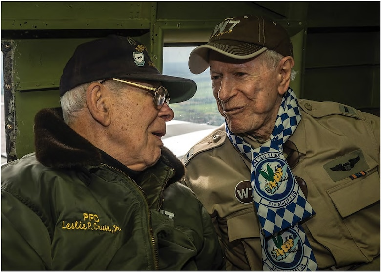 1st Lt. William Prindible and 2nd Lt. Julian Rice flew airdrop missions during the invasion of Normandy at a very young age. The pair both joined the Army Air Forces in 1942 and were stationed in Sicily, Italy with the 37th Troop Carrier Squadron. (U.S. Air Force photo by Airman 1st Class Jordan Castelan)