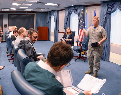 Brig. Gen Kathleen Cook, the Office of the Secretary of the Air Force and Chief of Staff of the Air Force director of public affairs, delivers opening remarks to a group of writers from various publications during the Air Force's second annual Magazine Day at the Pentagon in Washington, D.C., May 13, 2016. (U.S. Air Force photo/Andy Morataya)