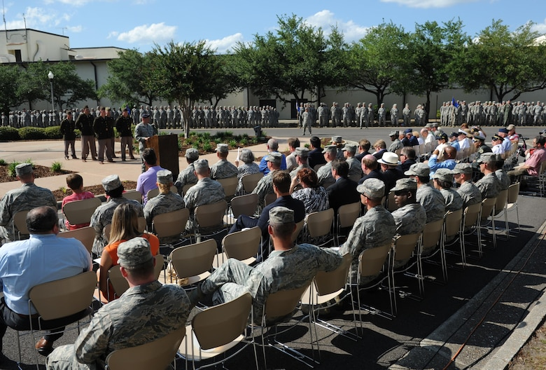 Master Sgt. Jeffery Thatcher, 81st Security Forces Squadron standardizations and evaluations superintendent, serves as the narrator during the Lt. Samuel Reeves Keesler, Jr. Memorial Retreat Ceremony May 13, 2016, Keesler Air Force Base, Miss. The event was held in honor of Lt. Keesler's date of entry into the Army Air Service 99 years ago. The retreat ceremony is one part of a year-long celebration of Lt. Keesler, a Mississippi native and WORLD WAR I hero, and the 75th anniversary of the opening of the base. (U.S. Air Force photo by Kemberly Groue)